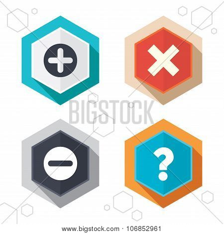 Hexagon buttons. Plus and minus icons. Delete and question FAQ mark signs. Enlarge zoom symbol. Labels with shadow. Vector poster