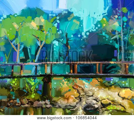 Oil Painting Landscape With Wooden Bridge Over Creek In Forest