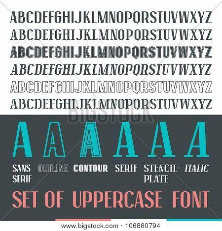 Set Of Uppercase Narrow Font