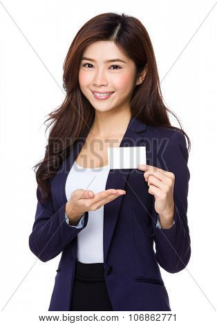 Businesswoman show with namecard