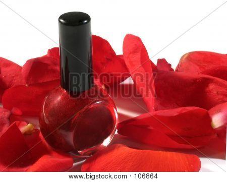 Red Nail Polish With Petals