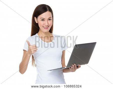 Asian Woman hold with laptop computer and thumb up