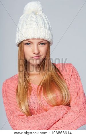 Skeptical winter woman