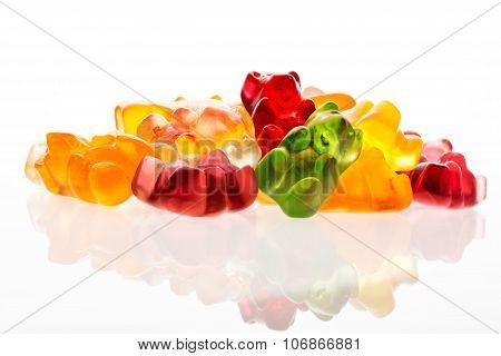 Heap Of Jelly Bears Or Gummy Bears Candies Isolated On White