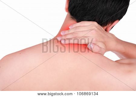 Close Up Suffering Male Pain In Neck Isolated White Background.