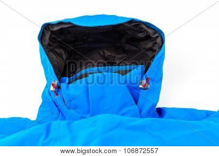 Blue sport jacket with hood