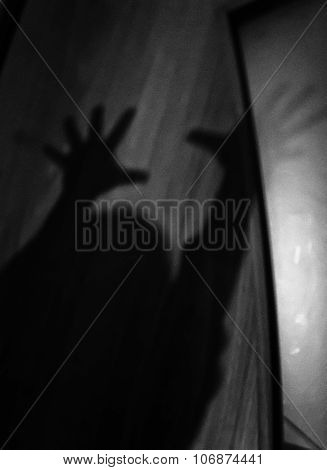 Childs Outstretched Arms In Silhouette