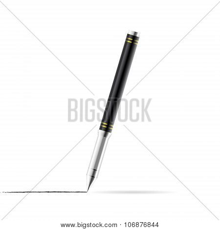 Gel pen draws a line, office tool, 3d realistic vector illustration, gradient mesh, eps 10 poster
