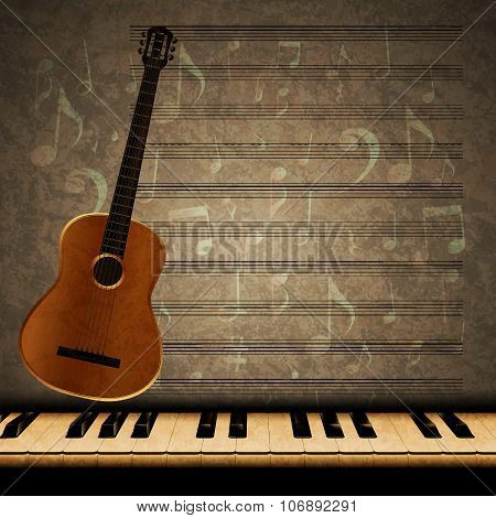 Musical Background Guitar And Piano Keys