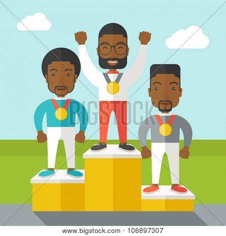 Three african-american male athletes with medals standing on a pedestal vector flat design illustration. Square layout.