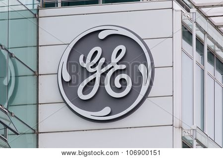 BADEN, SWITZERLAND. November 2nd, 2015. The new General Electric logo has been installed at the former Alstom thermal power headquarters.