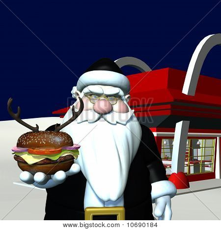 Santa wearing a black latex suit displaying a reindeer burger. Bah Humbug poster