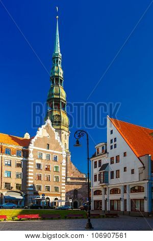 St. Peter's Church in the Old Town of Riga, Latvia
