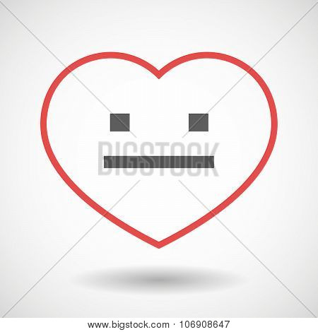 Line Hearth Icon With A Emotionless Text Face