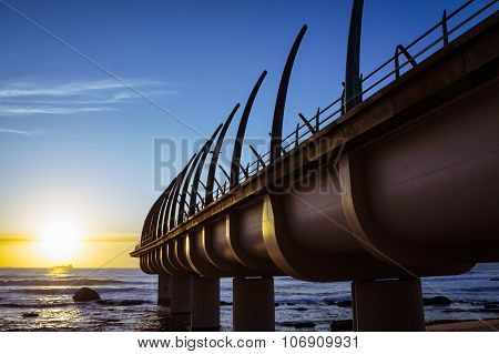 Umhlaga Pier In Durban South Africa In The Sunset