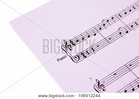 Musical score on white background seen close poster