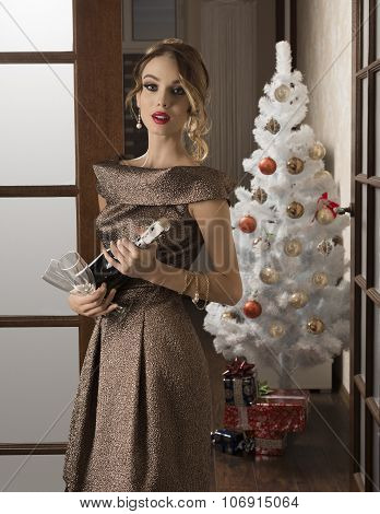 Elegant Girl In Christmas Holiday
