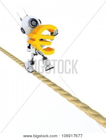 3D Render of a Robot on a tight rope
