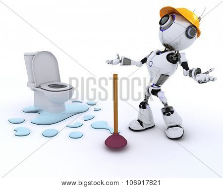 3D Render of a Robot plumber fixing a leak poster