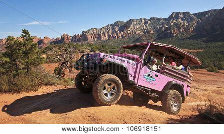 A Pink Jeep Tour On Broken Arrow Trail
