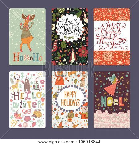 Six lovely Christmas and New Year cards in bright colors. Holiday set with angel, Santa Claus, deers, birds, bears, owls and other animals.