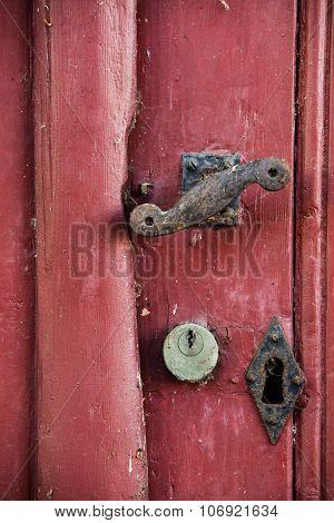 Red door with locks