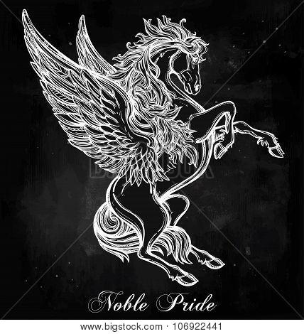 Vintage style Pegasus illustration.