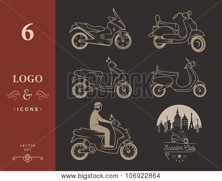 Set Vector Vintage Sign and Logo Scooter