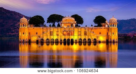 Panorama of Rajasthan landmark - Jal Mahal (Water Palace) on Man Sagar Lake in the evening in twilight.  Jaipur, Rajasthan, India