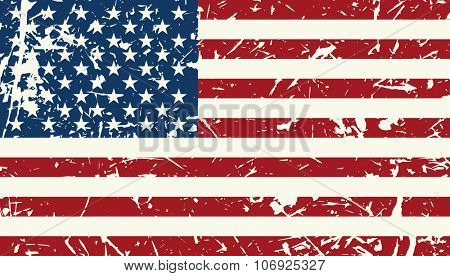 American flag vintage textured background. Vector illustration Veterans day