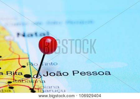 Joao Pessoa pinned on a map of Brazil