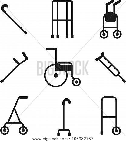 Different Styles Of Walkers. Flat Style Color Vector Symbols Isolated On White.