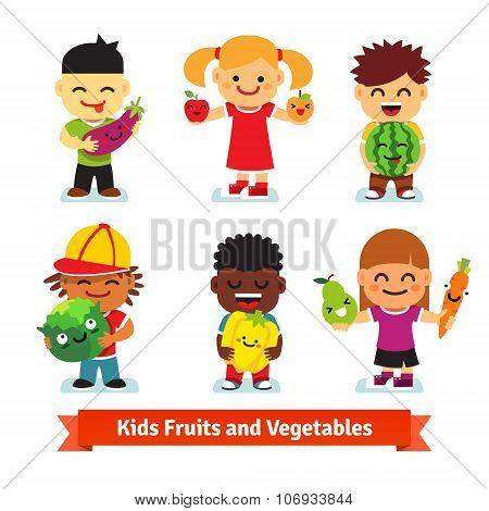 Happy kids holding smiling fruits and vegetables