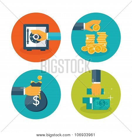 Vector illustration. Flat moneymaking background. Deposit. Bank. Business aims.