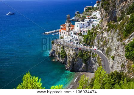 beautiful Amalfi coast of Italy  - view of Atrani