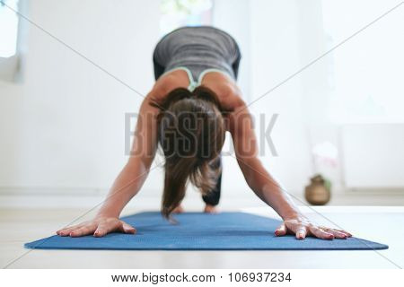 Woman Doing Adho Mukha Svanasana Yoga Pose