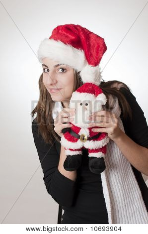 Teenager With Her Santa Gift