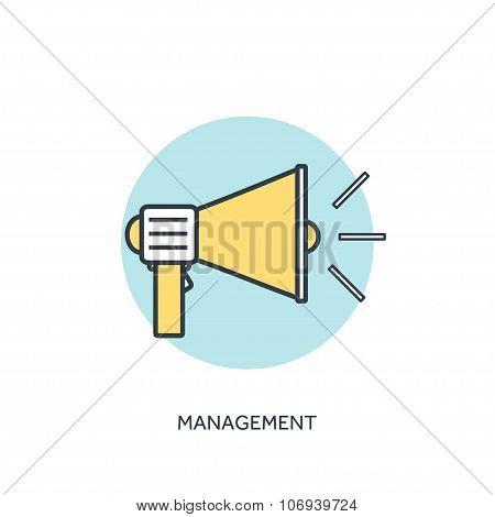 Flat lined loudspeaker icon. Management concept background.
