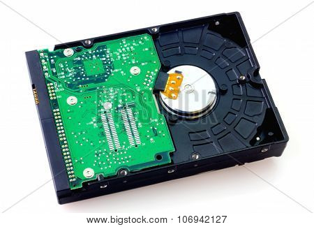Hard disk drive isolated on white closeup poster