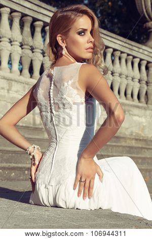 Gorgeous Woman Wears Luxurious Elegant Dress