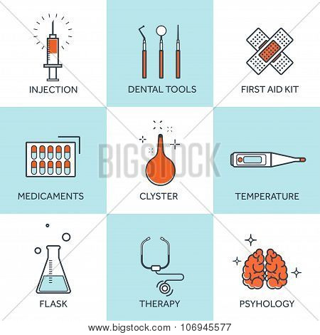Vector illustration. Flat medical set with lined icons. First aid help and diagnosis.Medical researc