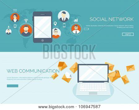 Vector illustration. Flat header.  Business communication and correspondence. Social network. Global