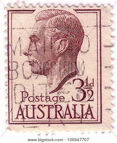 Australia - Circa 1951: A Stamp Printed In The Australia Shows George Vi, King Of The United Kingdom
