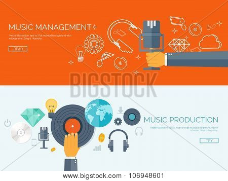 Vector illustration. Flat background. Music.production. Show business. Mp3 and compact disk. Voice recording. Singind and karaoke. Audio store. poster