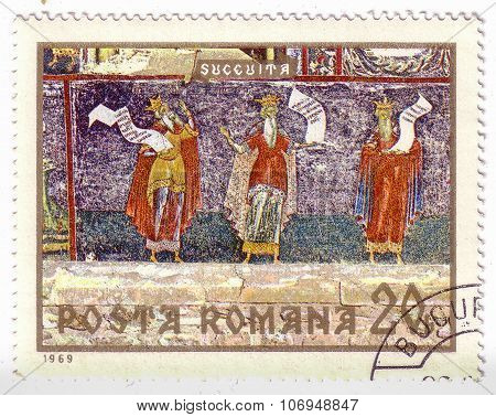 Romania - Circa 1969: A Stamp Printed In The Romania Shows Three Prophets, Fresco From Sucevita Mona