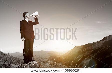 Businessman Shouting Mountain Announcement Speech Concept poster
