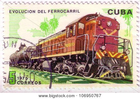 Cuba - Circa 1975 : A Post Stamp Printed In Cuba Shows Moving Train And Devoted Evolution Of Railway