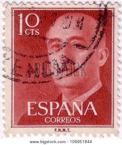 Spain - Circa 1961: A Stamp Printed In Spain Shows Francisco Franco, Circa 1961