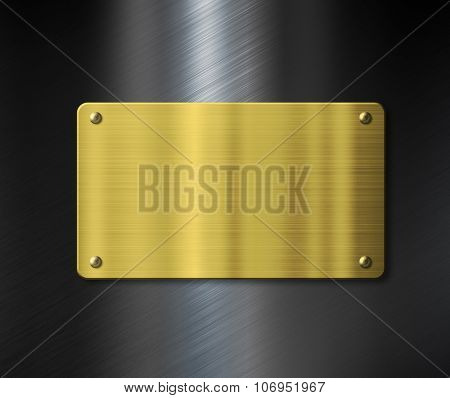 gold plate or nameboard over black metal