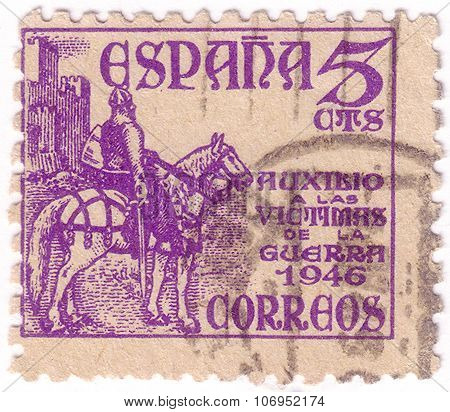 Spain - Circa 1946: A Stamp Printed By Spain, Shows Knight, Circa 1946